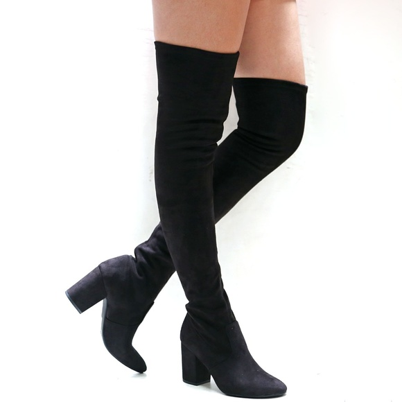64d944dde3a New Black Slim Calf Over Knee Pointy Toe Heel Boot